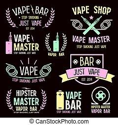 negozio, logotipo, vape, vapore, sbarra