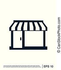 negozio, logotipo, vettore, sagoma, icona