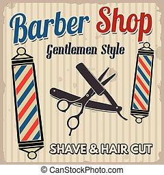 negozio, manifesto, barbiere, retro