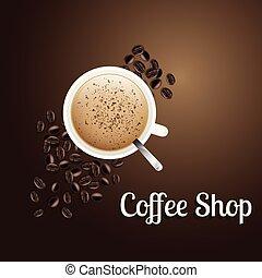 negozio, marrone, tazza caffè, immagine, vettore, fondo, bianco