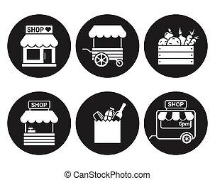 negozio, negozio, o, mercato, icona