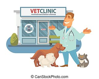 negozio, ospedale, coccolare, veterinario, animals., clinica, medicina, o