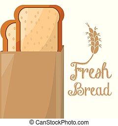 negozio, pagnotta, fetta, borsa, carta, pane fresco