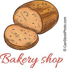 negozio, pagnotta, frumento, segale, panetteria, bread, cotto, icona