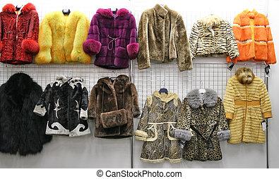 negozio, pelliccia, bambino