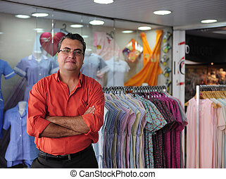 negozio, proprietario, vendita dettaglio, portait
