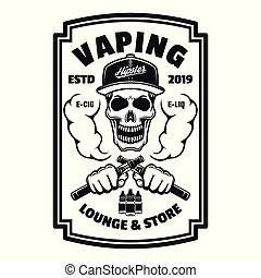 negozio, quadrato, emblema, cranio, vettore, nero, vaping