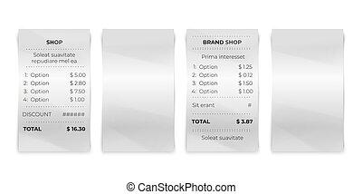 negozio, ricevuta., transazione, ristorante, mockup., conto, isolato, pagamento, carta, realistico, vettore, fattura, vuoto, biglietto, assegno, negozio