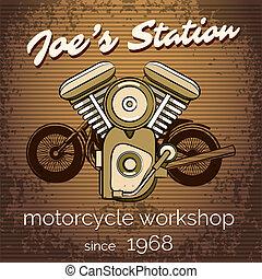 negozio, riparazione, vettore, motocicletta, manifesto