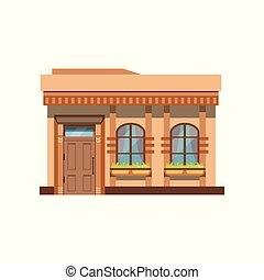 negozio, ristorante, illustrazione, facciata, vettore, fronte, caffè, o, negozio, vista