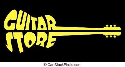 negozio, sagoma, giallo, chitarra, vettore, sfondo nero, logotipo