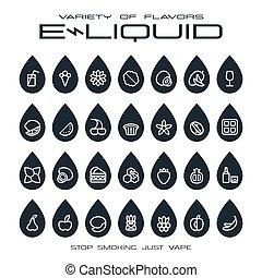 negozio, sapori, set, icone, vape, e-liquid