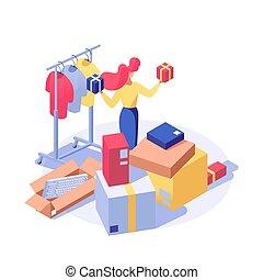 negozio, scegliere, character., venditore, inventario, femmina, isometrico, negozio, clipart, isolato, presenta, vacanza, 3d, assistente, supermercato, acquirente, acquisto, cliente, beni, illustration., vettore, prodotti, vestiti