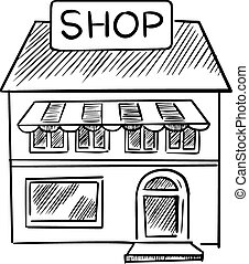 negozio, schizzo, con, negozio, cartello