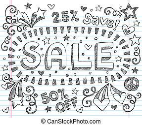 negozio, scontare, sketchy, vendita, doodles