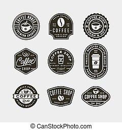 negozio, serie caffè, vendemmia, moderno, labels., vettore, illustrazione