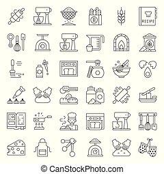 negozio, set, contorno, editable, panetteria, relativo, colpo, pasta, icona