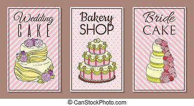 negozio, set, crema, illustration., fruity, dolce, smalto, vettore, cioccolato, dessert, sprinkles., saporito, cupcakes, torta nuziale, fresco, bandiere, torte, budino, frullato, biscotti