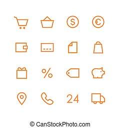 negozio, set, icona