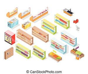 negozio, set, icone, supermercato, dipartimenti, interno