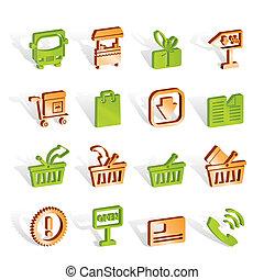 negozio, set, icone, -, vettore, linea, icona