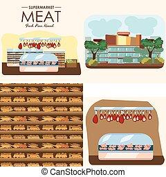 negozio, set, shelfs, latte, fila, salsiccia, interno, cibo, supermercato, dipartimenti, yogurt, negozio, frigorifero, bread, drogheria, mercato, carne, illustrazione, panetteria, vettore, prodotti, fresco
