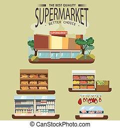 negozio, set, shelfs, latte, fila, salsiccia, verdura, cibo, supermercato, dipartimenti, interno, frutta, negozio, frigorifero, bread, drogheria, mercato, carne, illustrazione, panetteria, vettore, prodotti