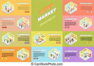 negozio, set., supermercato, dipartimenti, bandiere, negozio
