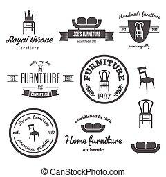 negozio, set, vendemmia, logotype, elementi, distintivo, logotipo, mobilia