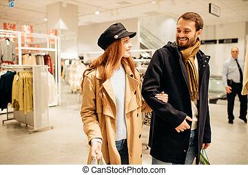 negozio, shopping, caucasico, insieme, bello, coppia, vestiti