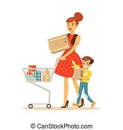 negozio, shopping, cose, carattere, carrello, figlio, negozio, madre, dipartimento, acquisto