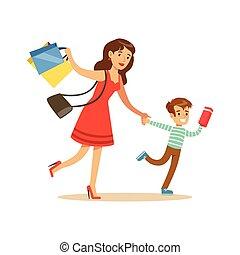 negozio, shopping, cose, carattere, figlio, correndo, negozio, madre, dipartimento, acquisto
