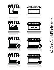 negozio, singolo, negozio, /, supermercato
