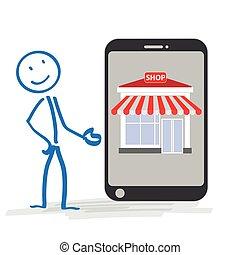 negozio, smartphone, stickman
