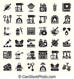 negozio, solido, relativo, panetteria, disegno, pasta, icona