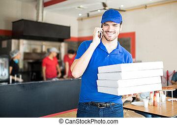 negozio, sopra, giovane, ordine, telefono, uomo, presa, pizza