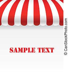 negozio, spazio, striscia, tenda, bianco rosso