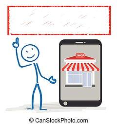 negozio, stickman, smartphone, bandiera