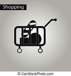 negozio, stile, carro cibo, nero, bianco, icona