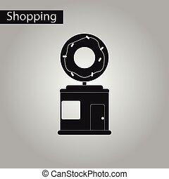 negozio, stile, donut, nero, bianco, icona