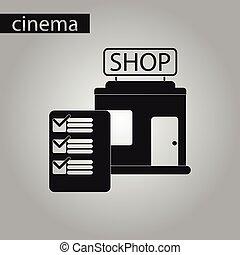 negozio, stile, forma, nero, bianco, icona