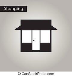 negozio, stile, nero, bianco, icona