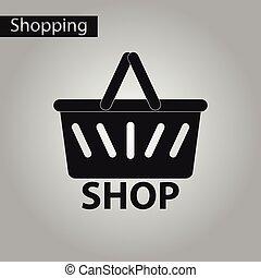 negozio, stile, nero, cesto, bianco, icona