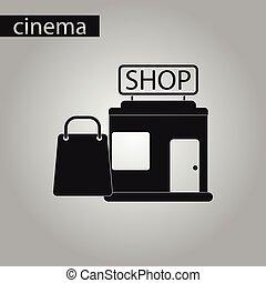 negozio, stile, pacchetto, nero, bianco, icona