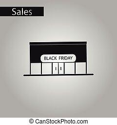 negozio, stile, venerdì, nero, bianco, icona