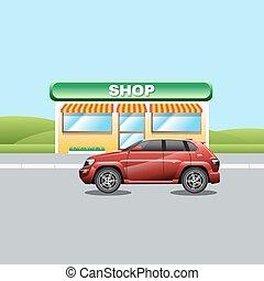 negozio, suburbano, strada, rosso, veicolo