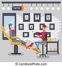 negozio, tatuaggio, stile, concetto, opzione, persone, illustrazione, testo, concept., artista, tipografia, appartamento, offerte, fondo., cliente, disegno, retro, vettore