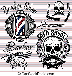 negozio, tema, set, barbiere, emblemi