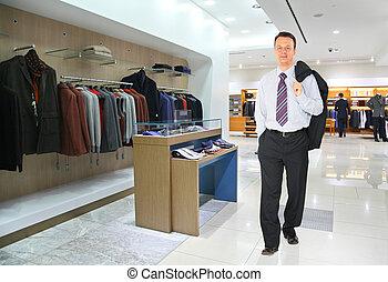 negozio, uomo affari