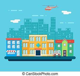 negozio, urbano, strada, città, casa, ospedale,...